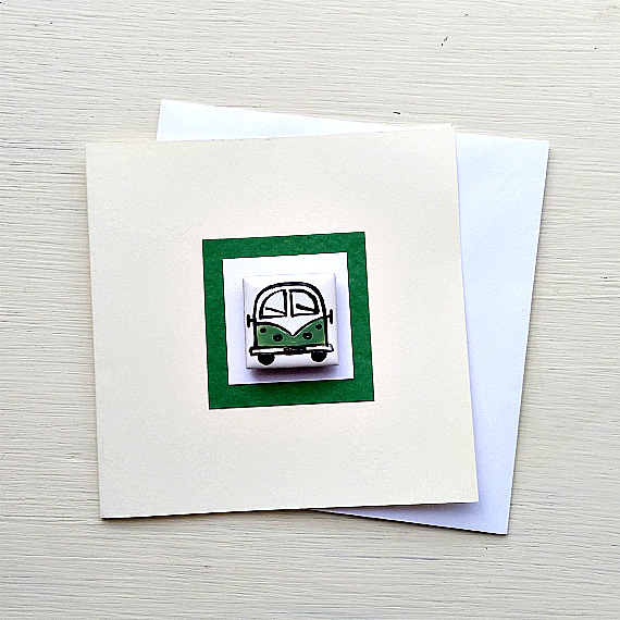Campervan Card, Birthday Card, Greeting Card, Blank Card, Green, Combi Card