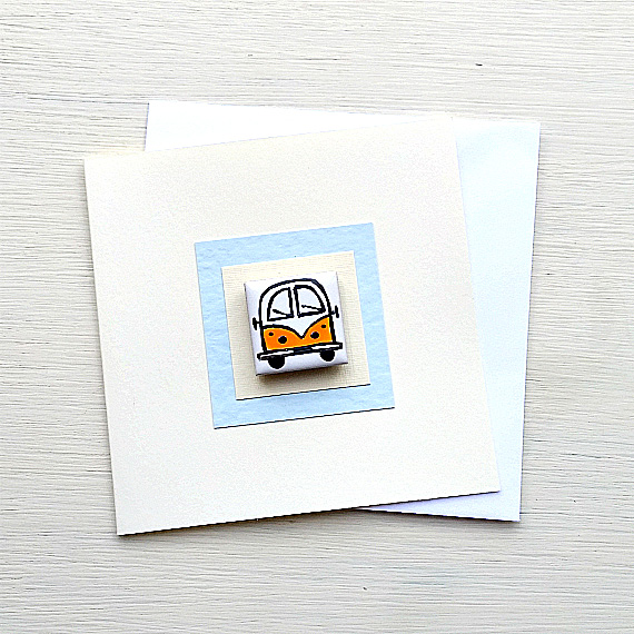 Campervan Card, Birthday Card, Greeting Card, Blank Card, Yellow, Combi Card