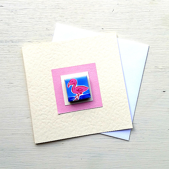 Flamingo Card, Birthday Card, Greeting card, Blank Card, Magnet Card