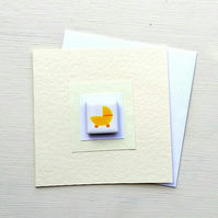 New Baby Card, Neutral Baby Card, Baby Boy or Girl, Magnet Card, Blank, Yellow