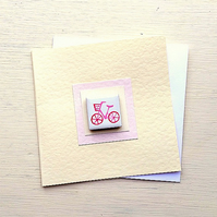 Bicycle Card, Birthday Card, Magnet Card, Blank Card, Cycling, Bike Card, Pink