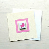 New Baby Card, Baby Girl Card, Magnet Card, Blank Card, Pink