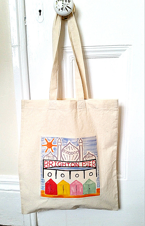 Brighton Tote Bag, English Seaside, Royal Pavilion, Brighton Pier, Beach Huts,