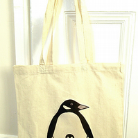 Penguin Bag, Tote Bag, Bird Bag, Penguin Tote, Birds, Cotton Tote, Reusable Bag