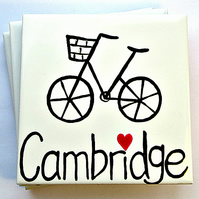 Cambridge Coaster, Ceramic Coaster, Placemat, Homewares, Bicycle, Cycling, Bike