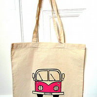 Campervan Bag Pink, Tote Bag, Seaside Tote, Combi Tote, Cotton Tote, Splitscreen