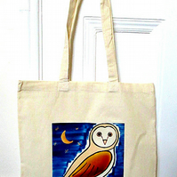 Owl Starry Sky Bag, Bird Bag, Owl Tote Bag, Cotton Tote, Canvas Bag