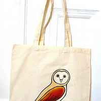 Owl Tote Bag, Bird Bag, Barn Owl, Cotton Tote, Reusable Bag, Eco Bag