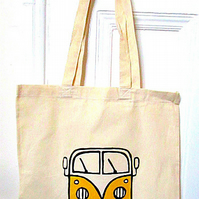 Campervan Bag Yellow, Tote Bag, Seaside Tote, Combi, Cotton Bag, Splitscreen