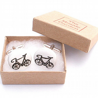 Bicycle Cufflinks Black, Bike Cufflinks, For Dad, Wedding Cufflinks, Cycling