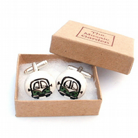 Campervan Cufflinks Green, Combi, Wedding Cufflinks, For Him, Groom, Splitscreen