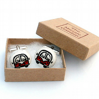 Campervan Cufflinks Red, Combi, Wedding Cufflinks, For Him, Groom, Splitscreen