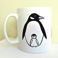Penguin Mug, Bird Mug, Tea Mug, Men's Gift, Gifts for Mum