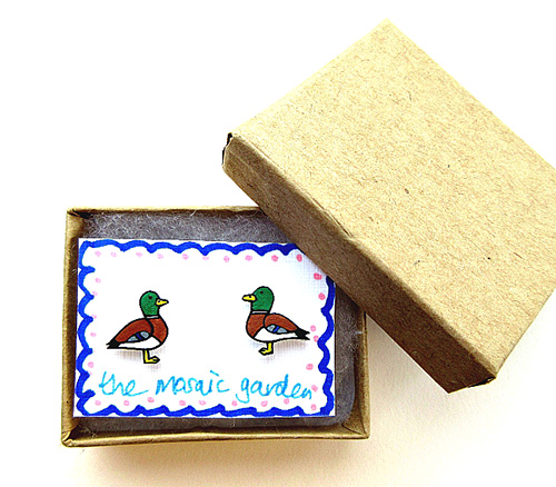 Mallard Duck Earrings, Bird Studs, Acrylic, Gift for Her, For Mum,Jewellery,