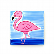 Flamingo Coaster, Ceramic Coaster, Placemat, Homewares, Birds, Personalised