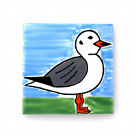Seagull Coaster, Ceramic Coaster, Bird Coasters, Personalised, Free UK Delivery