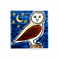 Owl Coaster, Ceramic Coaster, Placemat, Homewares, Birds, Personalised