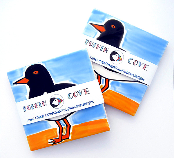 Oystercatcher Coaster, Bird Coasters, Personalised, Free UK Delivery