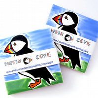 Puffin Coaster, Ceramic Coaster, Placemat, Homewares, Bird Coaster, Personalised