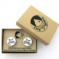 Bicycle Cufflinks Black, Bike Cufflinks, For Dad, Wedding Cufflinks, Cyclist,