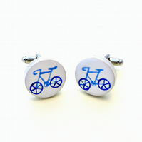 Bicycle Cufflinks Blue, Bike Cufflinks, Gift for Dad, Wedding Cufflinks,Cyclist