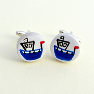 Boat Cufflinks, Nautical Cufflinks, Men's Gifts, Gift for Dad, Wedding Cufflinks
