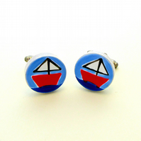 Sailing Boat Cufflinks, Nautical Cufflinks, Men's Gifts, Gift for Dad, Wedding,