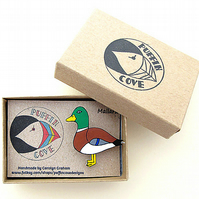 Mallard Duck Brooch, Bird Badge, Gifts for Mum, For Her, Gift for Girls