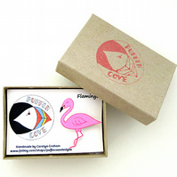 Flamingo Brooch, Bird Badge, Gifts for Mum, For Her, Gift for Girls, Pink