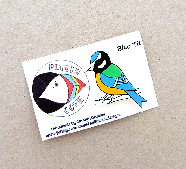 Blue Tit Brooch, Bird Badge, Gifts for Mum, For Her, Gift for Girls