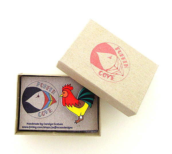 Cockerel Brooch, Chicken, Bird Badge, Gifts for Mum, For Her, Gift for Girls