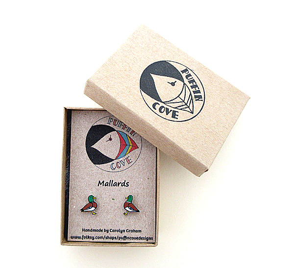 Mallard Duck Earrings, Bird Studs, Gift for Her, For Mum,Jewellery,