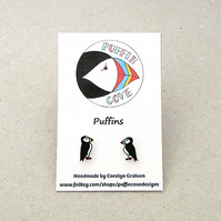 Puffin Earrings, Bird Studs, Gift for Her, For Mum, Jewellery,