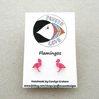 Flamingo Earrings, Bird Studs, Gift for Her, For Mum, Jewellery, Pink