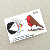 Robin Brooch, Bird Badge, Gifts for Mum, For Her, Gift for Girls