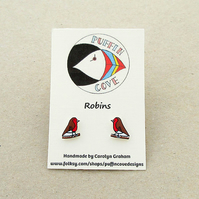 Robin Earrings, Bird Studs, Gift for Her, For Mum, Jewellery,