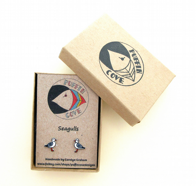 Seagull Earrings, Bird Studs, Acrylic, Gift for Her, For Mum,Jewellery, Seaside