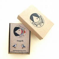 Seagull Earrings, Bird Studs, Gift for Her, For Mum, Jewellery, Seaside