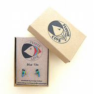 Blue Tit Earrings, Bird Studs, Acrylic, Gift for Her, For Mum, Jewellery,