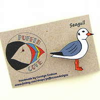 Seagull Brooch, Bird Badge, Gift for Mum, For Her, Gift for Girls, Seaside