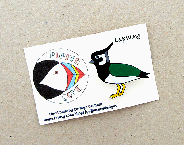 Lapwing Brooch, Bird Badge, Gift for Mum, For Her, Gift for Girls, Peewit
