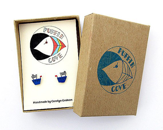 Fishing Boat Earrings, Studs, Acrylic, Gift for Her, For Mum, Jewellery, Seaside