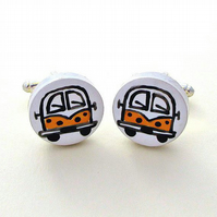Campervan Cufflinks Yellow, Combi, Wedding Cufflink, For Him, Groom, Splitscreen