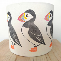 Puffin Lampshade, Bird Lampshade, Seabird, Seaside Decor, Coastal, Linoprint,
