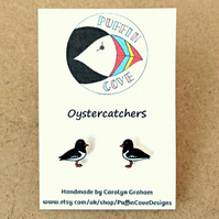 Oystercatcher Earrings, Bird Studs, Gift for Her, For Mum, Jewellery, Seaside
