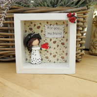 FRIEND BOX PLAQUE, Handmade Clay Figurine in Frame, Gifts for Her