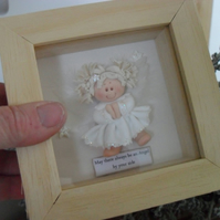 Framed Sparkly Angel Gift for Her, Child's Room, Polymer Clay Stocking Filler