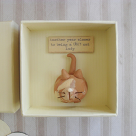 Cat Lover Gift, Clay Pet, Bestie in a Box Handmade Animal Characters, Birthday