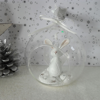 Bunny Bauble, Christmas Decoration, Glass, Clay Hanger, Girl's Gift, Birthday
