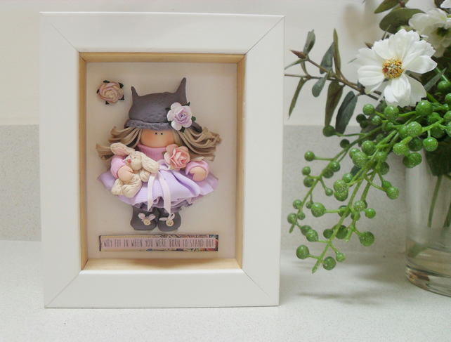 Polymer Clay Framed Girl, Inspirational Quote, Girl's Room, Gifts for Her